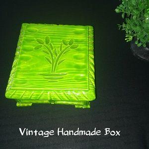 Vintage handmade green trinket box signed